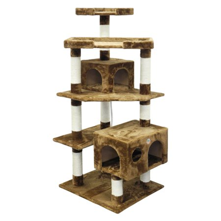 Go Pet Club 60.5 in. Cat Tree 5-Level Scratcher Post with Dual Condos (Black Cat Halloween Tree)