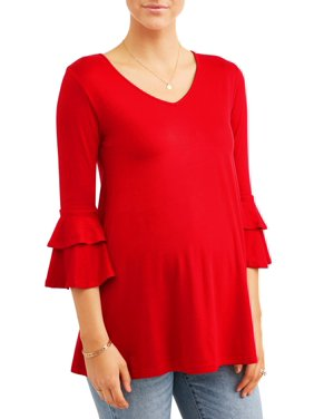 dee499b507b Product Image Maternity V Neck Ruffle Sleeve Top - Available in Plus Sizes