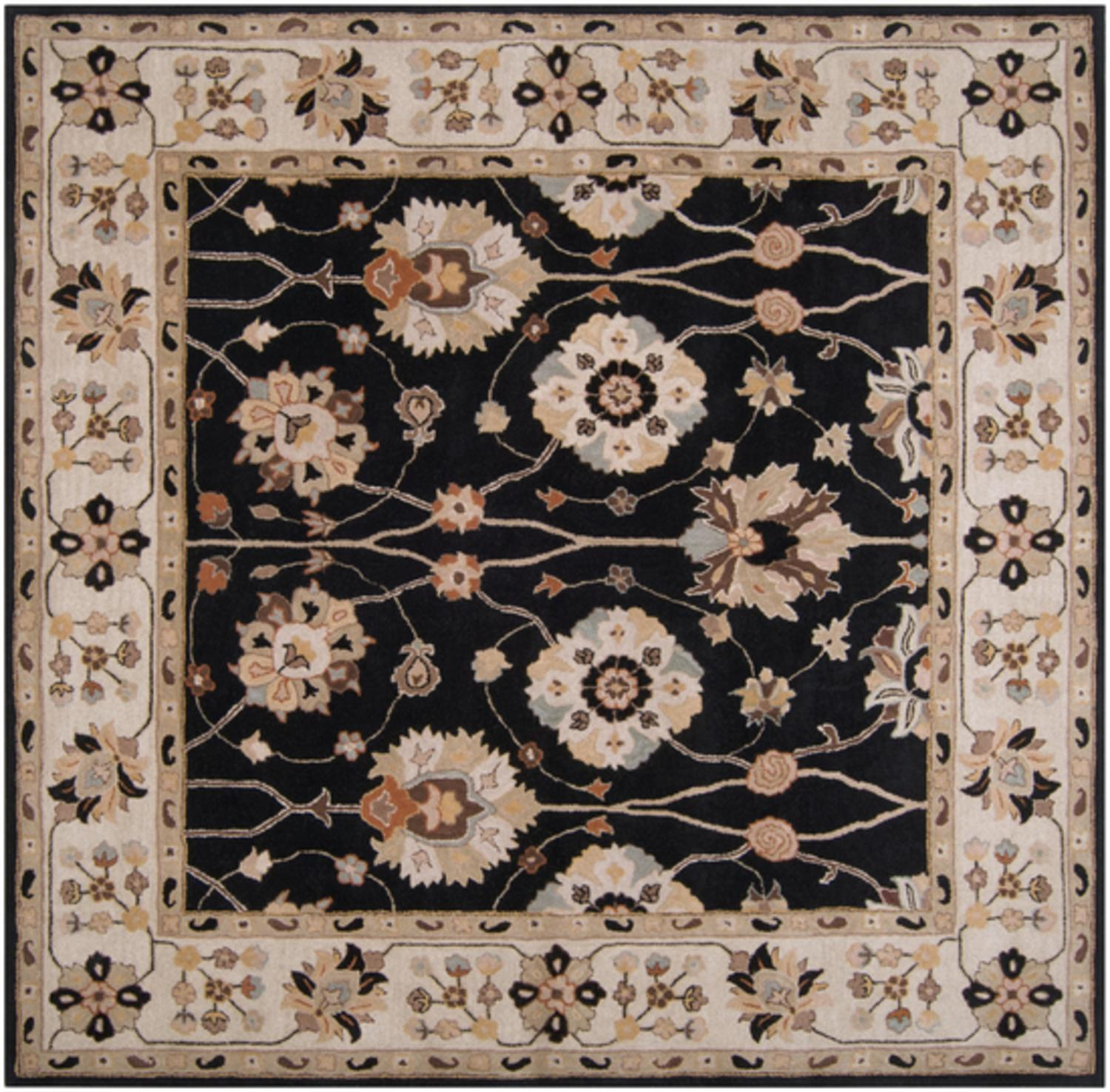 6' x 6' Gregoria Jet Black and Safari Tan Hand Tufted Wool Area Throw Rug