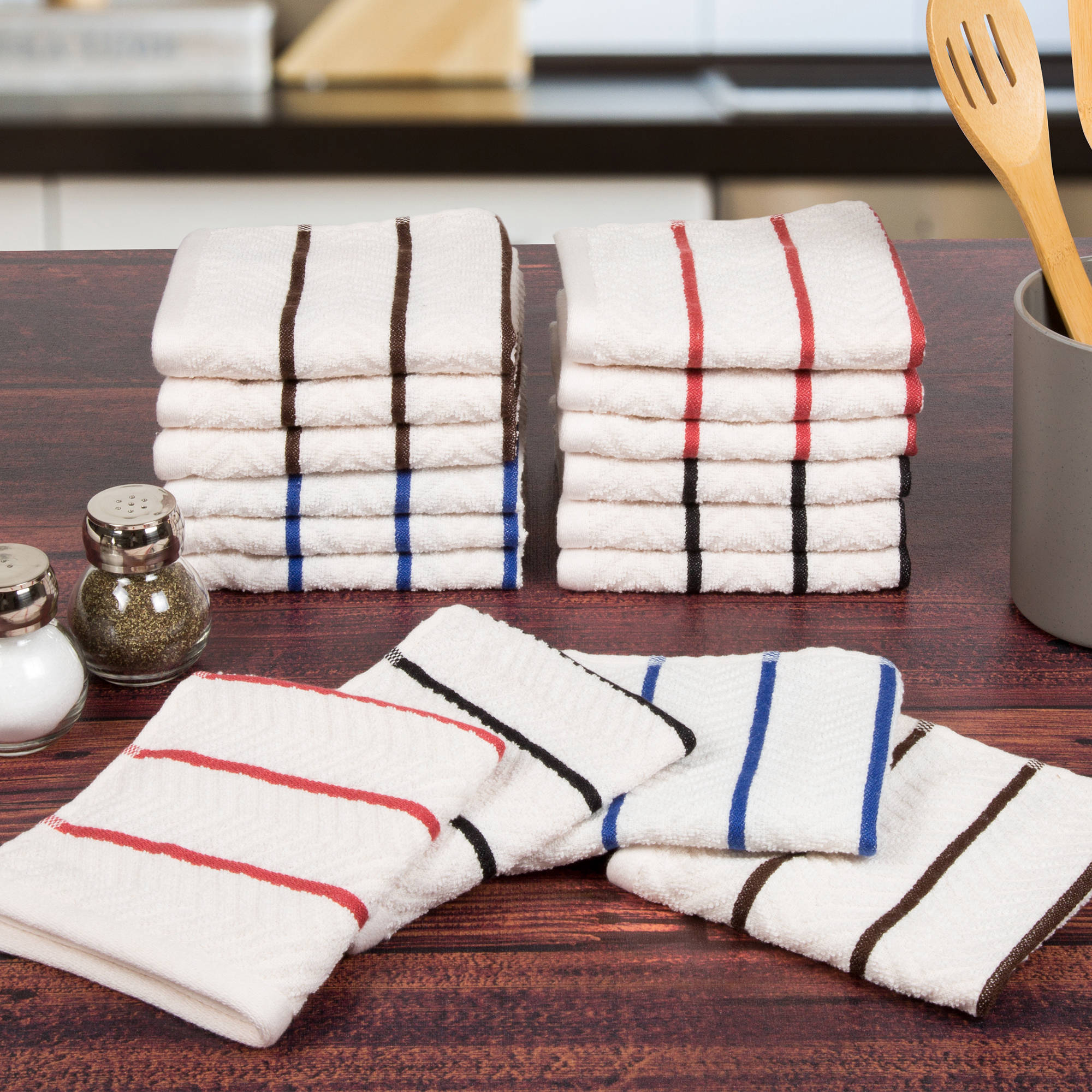 Somerset Home 16 Piece Cotton Chevron Terry Kitchen Towel Washcloth Set