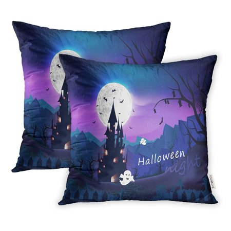 CMFUN Happy Halloween Spooky Fantasy and Cartoon Horror Story Night Scene Abstract Pillowcase Cushion Cover 16x16 inch, Set of 2 - Happy Halloween Stories
