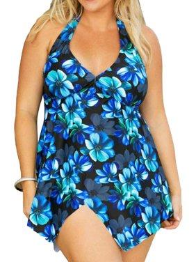4e292957a01 Product Image Women's Two Piece Swimsuit Halter Neck Swimdress Wrap Split  Front Swimwear Beach Bath Suits