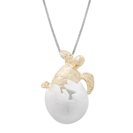 Silver Honu Sea Turtle - Sterling Silver with 14k Gold Plated Turtle Honu Hatchling Necklace Pendant with 18