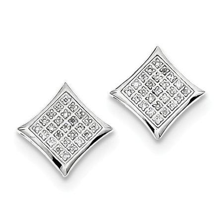 925 Sterling Silver Diamond Square Shaped Screwback Stud Earrings