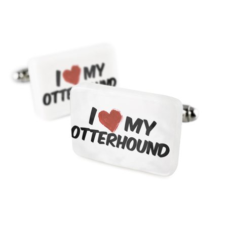 Cufflinks I Love my Otterhound Dog from EnglandPorcelain Ceramic NEONBLOND