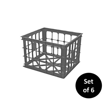 Homz Plastic File Crate Storage Container, Gray, Set of 6