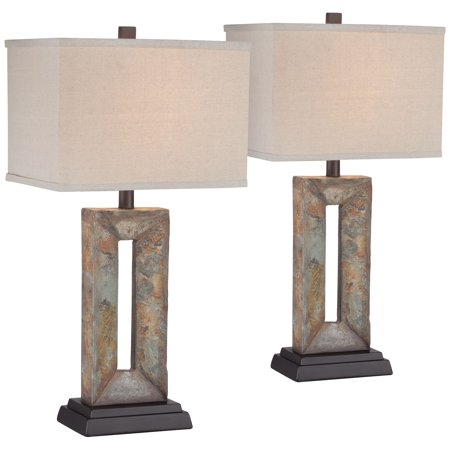 Franklin Iron Works Rustic Table Lamps Set of 2 Natural Stale Open Rectangular Box Shade for Living Room Family Bedroom Bedside ()