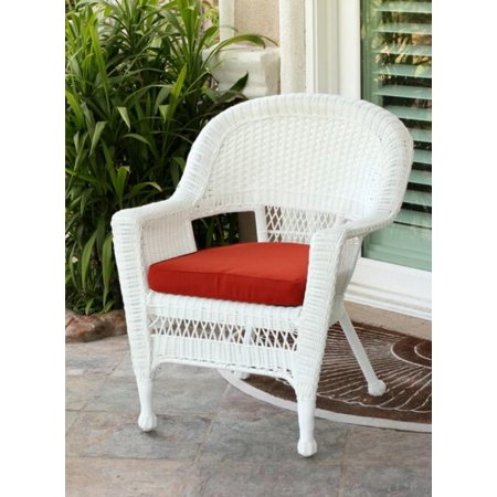 36 Quot White Resin Wicker Outdoor Patio Garden Chair With Red