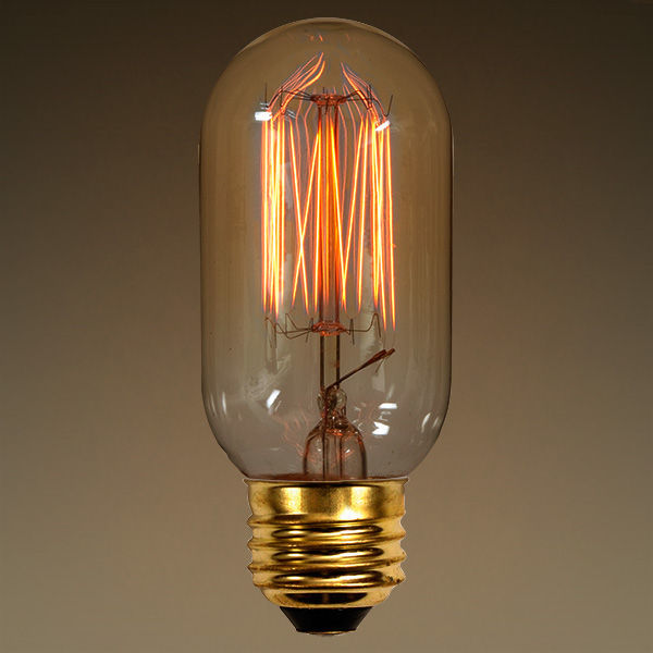 40 Watt - Vintage Antique Light Bulb - Radio Style - 4.125 in. Length - Squirrel Cage Filament - Multiple Supports - Clear