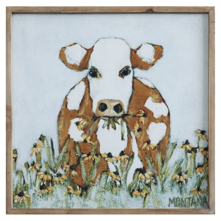 3R Studios Cow and Daisy Flowers Framed Wall Art