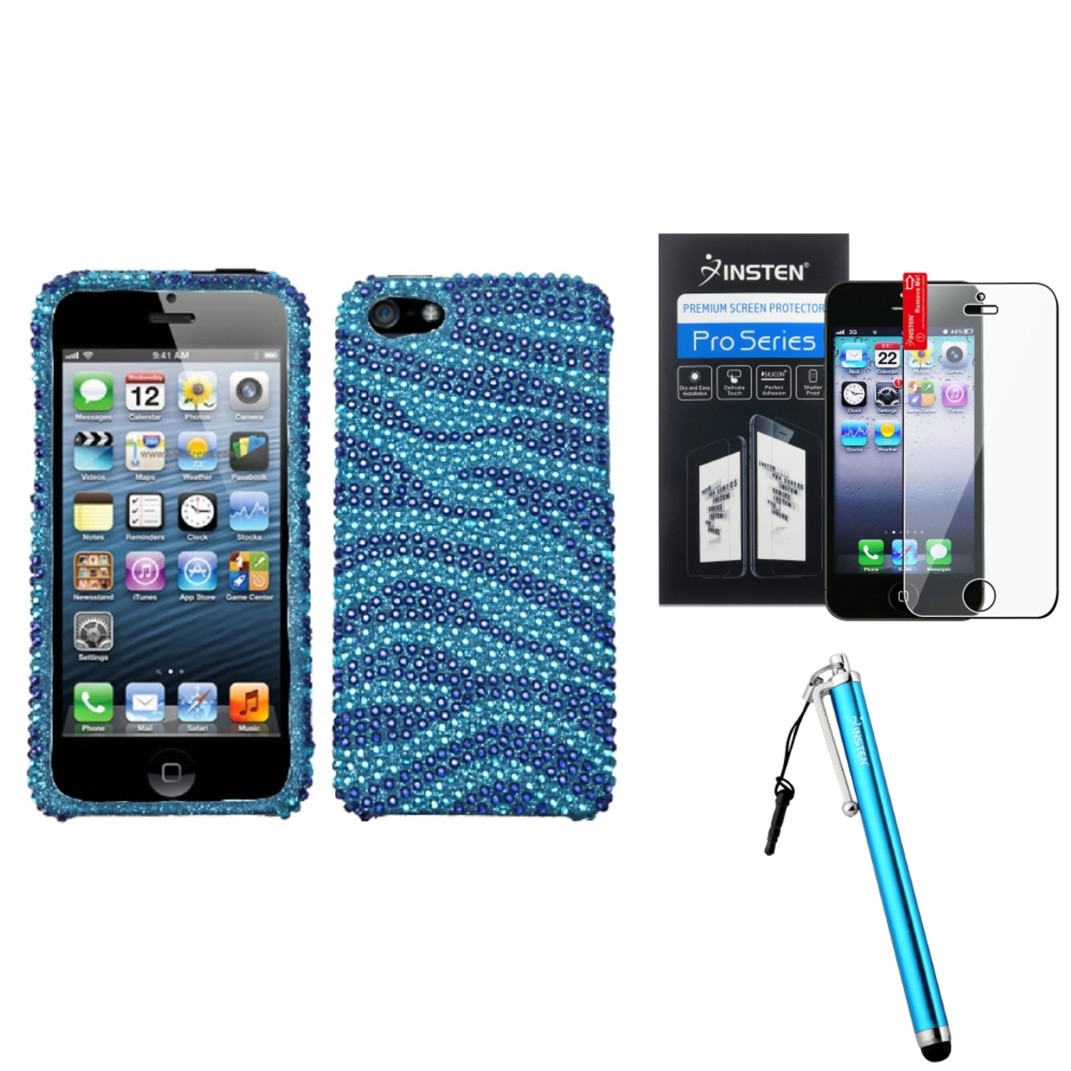Insten Zebra Skin (Baby Blue/Dark Blue) Diamante Case For iPhone 5 / 5s   Film   Stylus Pen