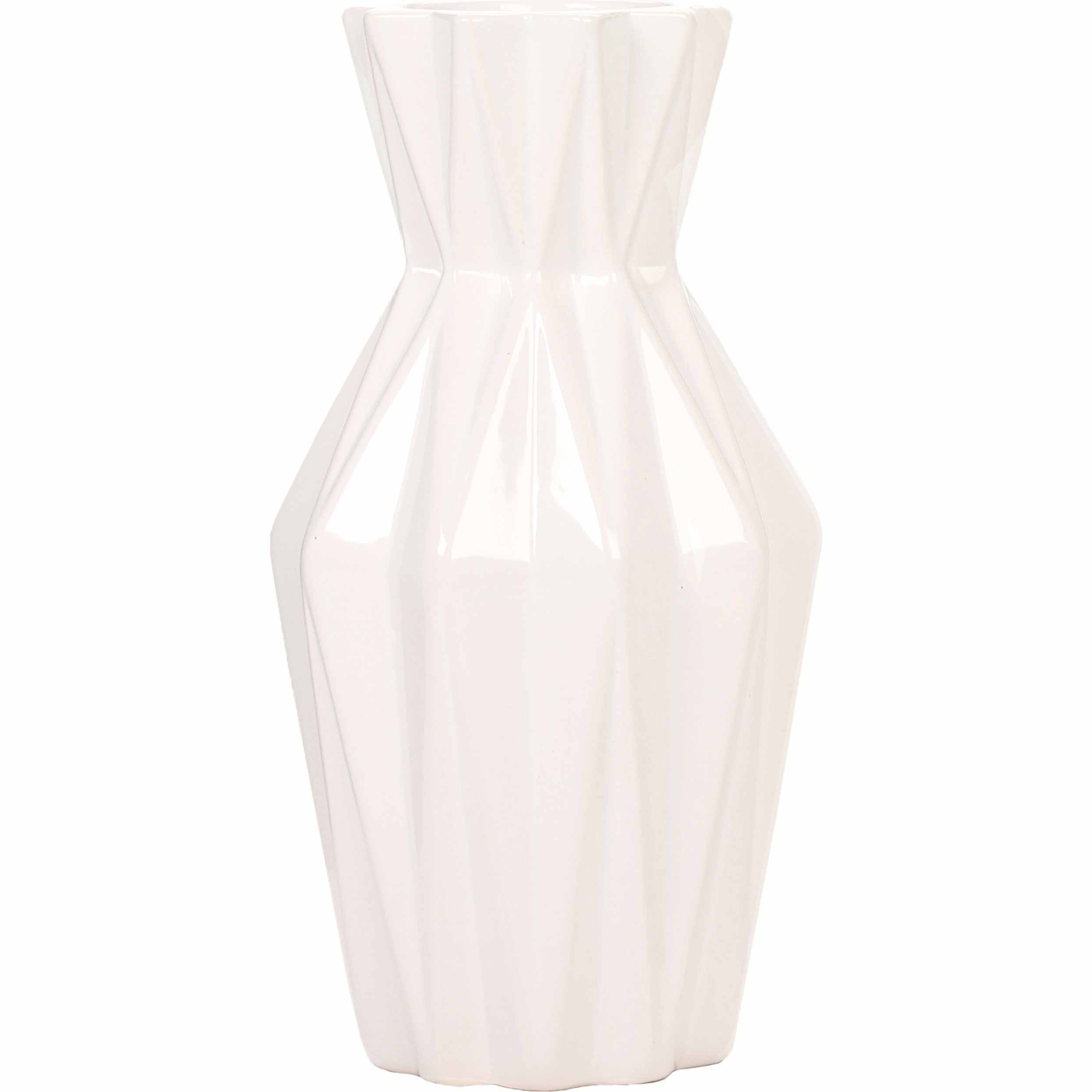 Mainstays Geometric Ceramic Vase, White by HG Global, LLC