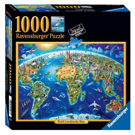 World Landmarks Map - 1000 Piece Jigsaw Puzzle - Ravensburger
