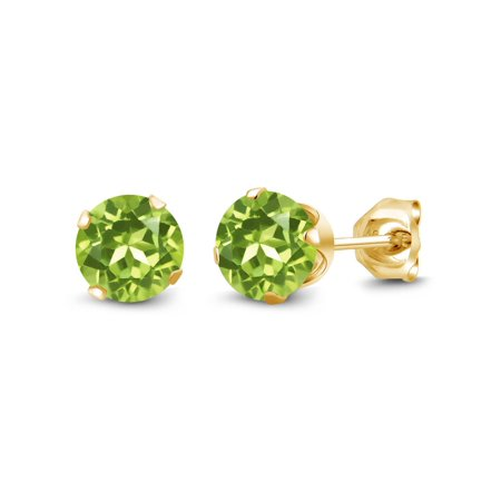 1.20 Ct Round Shape Green Peridot Yellow Gold Plated Silver Stud Earrings