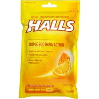 2 Pack - Halls Triple Soothing Action Cough Drops, Honey Lemon 30 Each