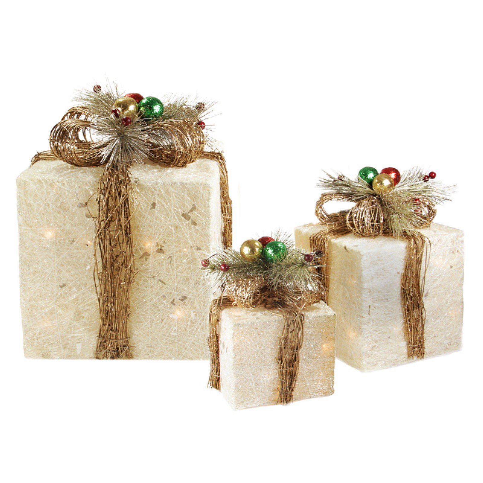 Northlight 3 Piece Sisal Gift Boxes Pre Lit Christmas Yard Decoration Set