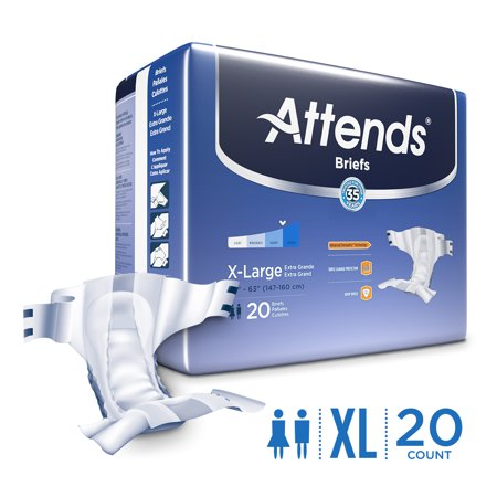 Attends Briefs Unisex  Xl  With Advanced Dermadry  Technology For Adult Incontinence Care  20 Count