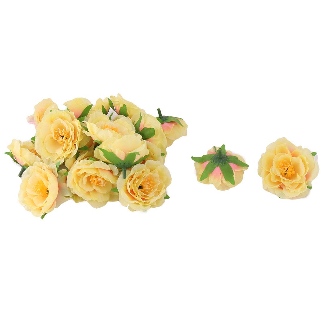 Wedding Fabric Handcraft Table Desk Decor Artificial Flower Heads Yellow 20pcs