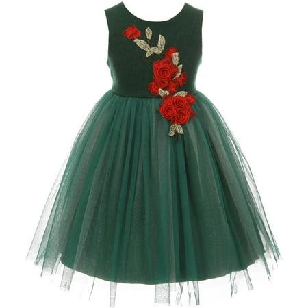 Little Girls Sleeveless Big Rose Sparkle Tulle Christmas Flower Girl Dress Green 2 (K20D1) - Green Girl Dresses