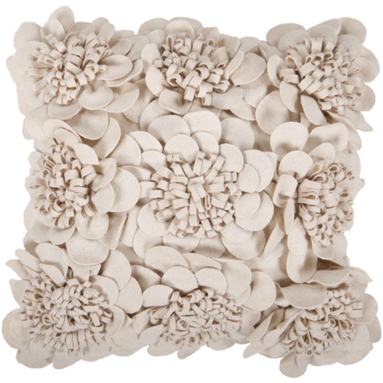 "22"" White Dimensional Applique Flower Blooms Decorative Down Throw Pillow"