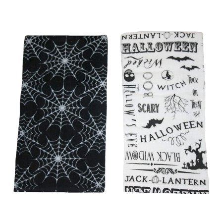 Halloween Party & Spider Webs 2 Pack Kitchen Towels - Easy Halloween Dishes For A Party
