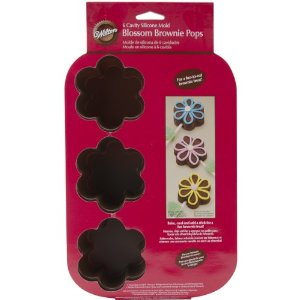 Wilton 6-Cavity Brownie Pops Silicone Mold, Blossom 2105-4924