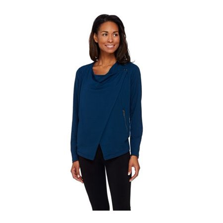 Lisa Rinna Collection Drape Front Jacket With Hook Closure