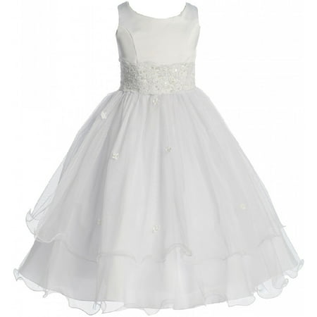 Little Girls Flower Girl First Communion Pageant Wedding Bridesmaid Girl Dress White 2 (1KD98) - Present For First Communion