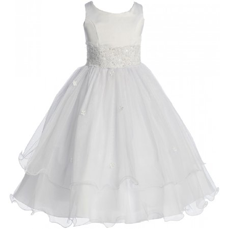 Little Girls Flower Girl First Communion Pageant Wedding Bridesmaid Girl Dress White 2 (1KD98)