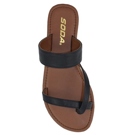 52576192a Soda - Summer Basic Black Sandals Cute Soda Shoes Women Flip Flops Flat  Heels Thongs DEPUTY - Walmart.com
