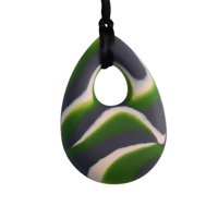 Oval Chewy Pendant With Breakaway Clasp Necklace- Green N Gray Swirl Color