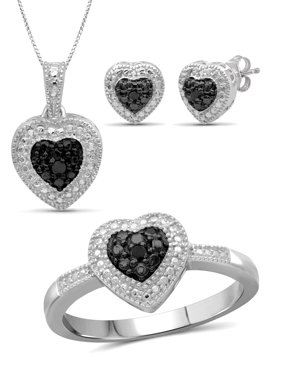 JewelersClub Black Diamond Accent Sterling Silver 3-Piece Heart Jewelry Set
