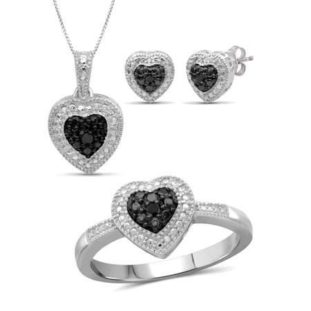 Accent Jewelry Set (JewelersClub Black Diamond Accent Sterling Silver 3-Piece Heart Jewelry)