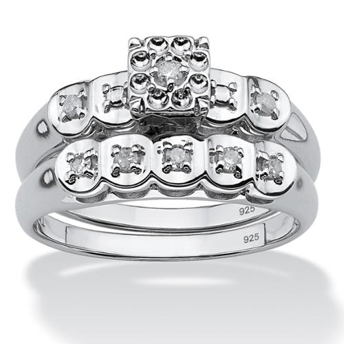 1/8 TCW Round Diamond Platinum over Sterling Silver Bridal Engagement Ring Wedding Band Set - Size 7