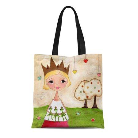 ASHLEIGH Canvas Tote Bag Princess Frog Collector Big Love Whimsical Hearts Polka Dots Reusable Handbag Shoulder Grocery Shopping Bags (Bass Collectors)
