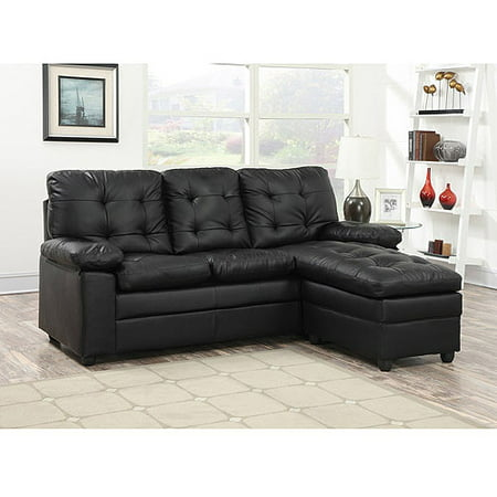 Buchannan faux leather sectional sofa with reversible for Black leather chaise lounge sofa