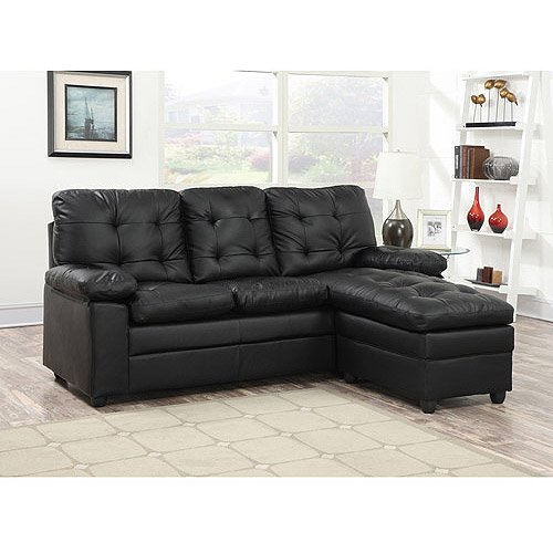 Buchannan faux leather sectional sofa with reversible for Small spaces sectional sofa black faux leather