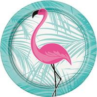 "Pink Flamingo Party 7"" Dessert Plates (8 Count)"