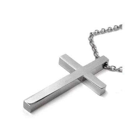 Large mens simple stainless steel cross necklace on 3mm steel chain large mens simple stainless steel cross necklace on 3mm steel chain 24 inch walmart aloadofball Images