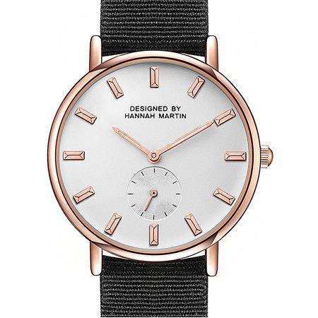 Men's Quartz Wrist Analog Watch Small White Dial Rose Gold Case Nylon Fabric Rose White Wrist Watch