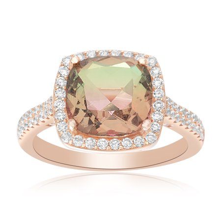 Lesa Michele Cubic Zirconia Halo Style Cushion Cut Multicolor Cubic Zirconia Center Pave Cocktail Ring in Rose Gold over Sterling (Cushion Cut Cocktail Ring)