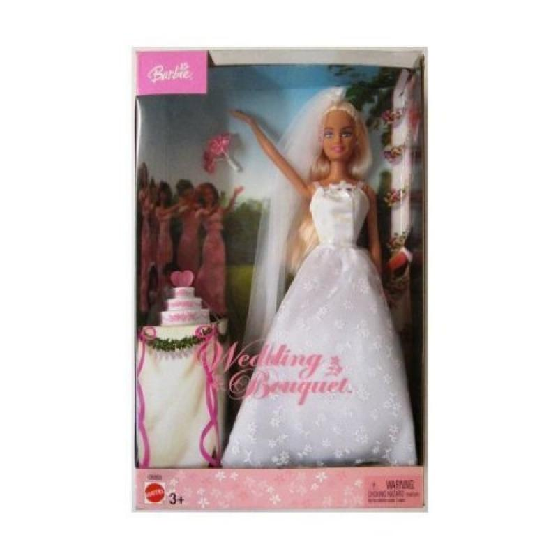 Barbie Wedding Bouquet 2003 Edition Doll with White Wedding Dress with Cake by