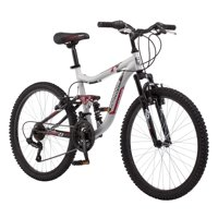 Mongoose Ledge 2.1 Mountain Bike, 24-inch wheels, 21 speeds, boys frame, Silver/Red