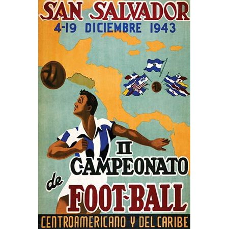 Poster for central American and Carribean football competitions  A man heading a ball is superimposed over a map of the carribiean basin Poster Print by Artes Graficas