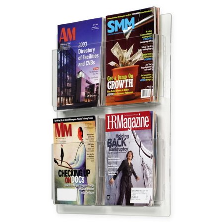 "Hanging Magazine Racks 20""w x 23""h x 2""d Clear Acrylic Wall Mounting Brochure Holders – Plexiglas Literature Displays Have Adjustable Dividers for Four or Eight Pockets (RP4CLR) 8 Pamphlet Literature Display"