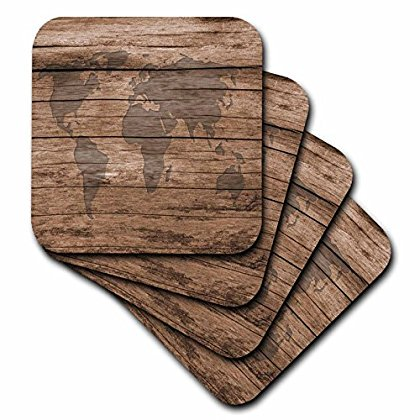 3dRose Print of Map Of World On Wood, Soft Coasters, set of 4](Diy Wood Coasters)