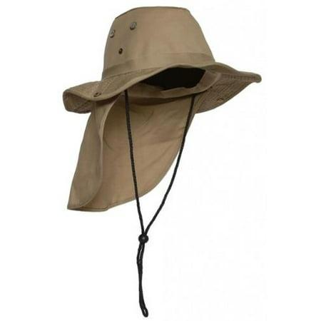 0d8881c2db4 Top Headwear Safari Explorer Bucket Hat With Flap Neck Cover - Khaki ...