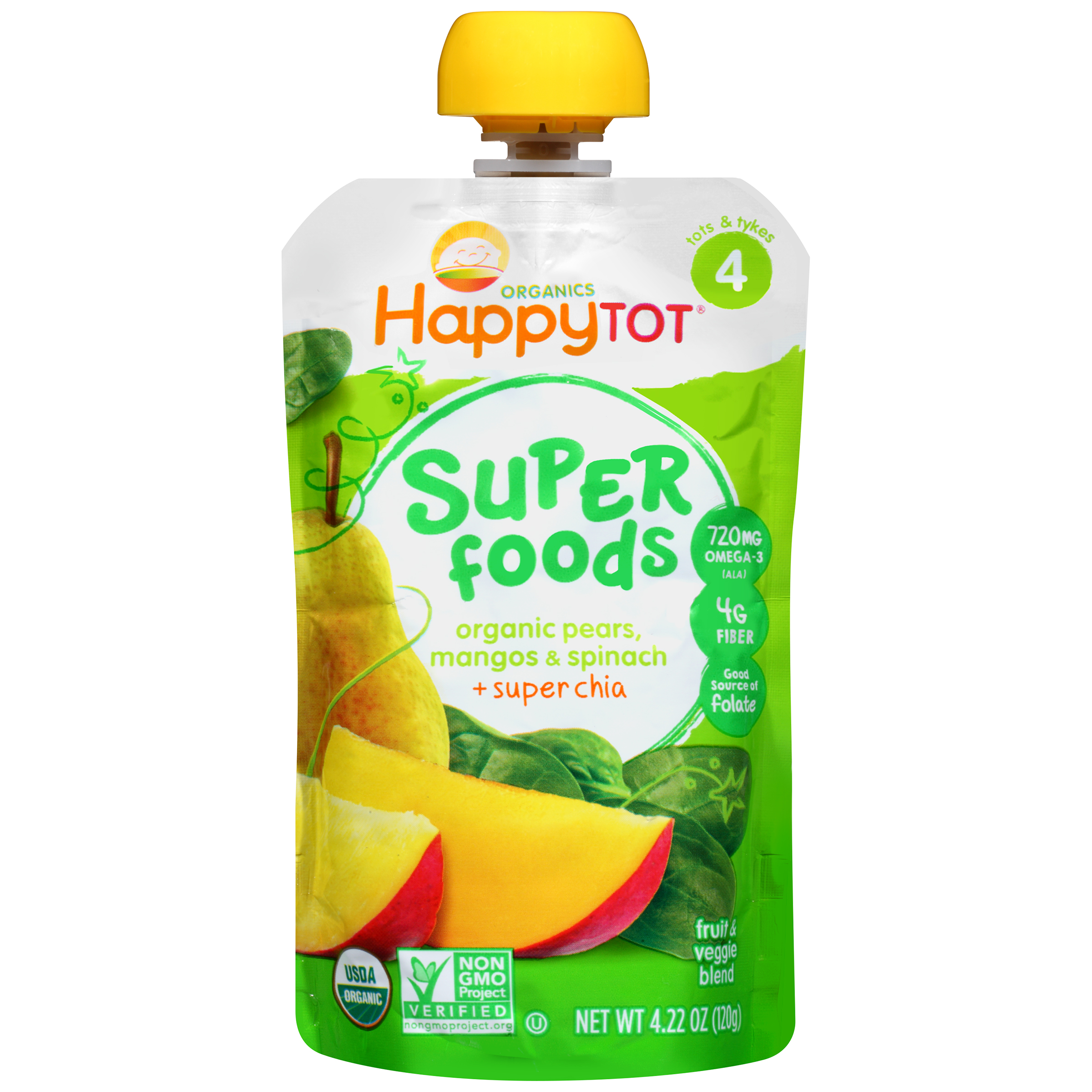 Happy Tot® Superfoods Organic Pears, Mangos & Spinach + Super Chia Fruit & Veggie Blend 4.22 oz. Pouch
