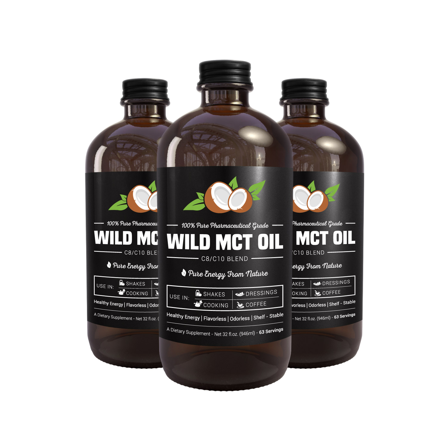 100% Pharmaceutical Grade MCT Oil, Wild MCT, Made in USA, 32-fluid Oz Glass bottle, Guaranteed Quality, C8/C10 Blend, Great For Smoothies, Salads, Coffee, and Shakes