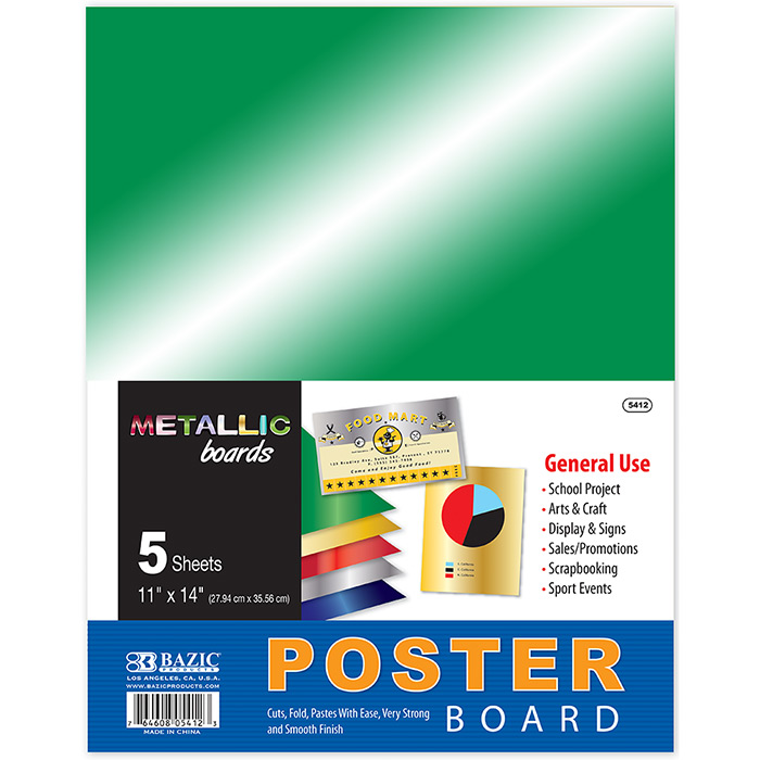 "(Price/Case of 48)Bazic Products 5412-48 11"" X 14"" Metallic Poster Board (5/Pack)"